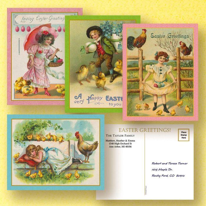 Vintage Personalized Easter Postcards