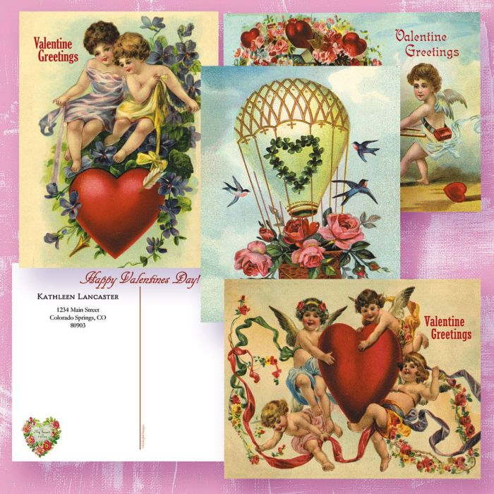 Vintage Personalized Valentine Postcards