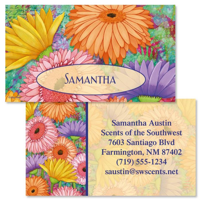Pastel Gerber Daisies Double-Sided  Business Cards