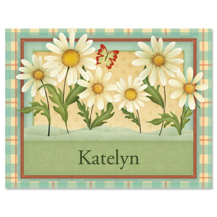 Dusty Blue & Daisies Custom Note Cards