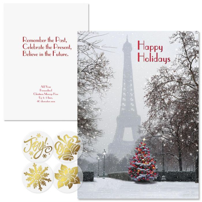 Paris in the Snow Foil Christmas Cards -  Personalized