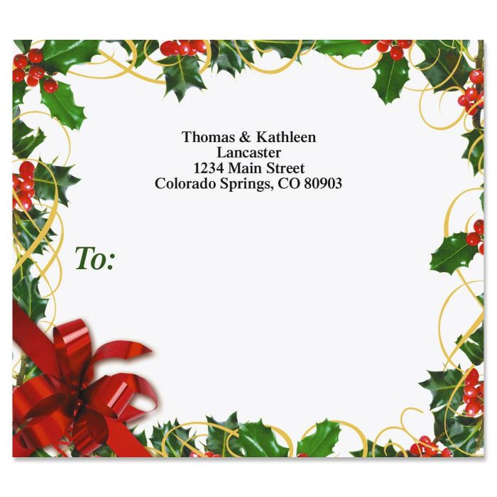 Holly Bow Package Labels