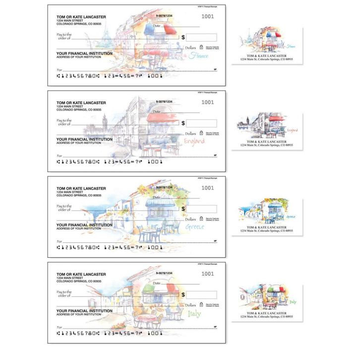Tranquil Europe Single Checks with Matching Address Labels