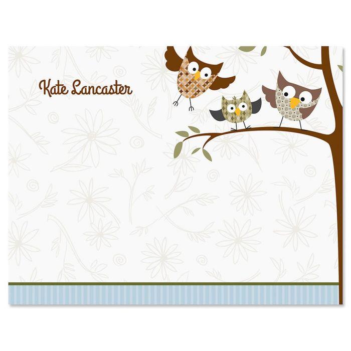 Fall Owls Custom Note Cards
