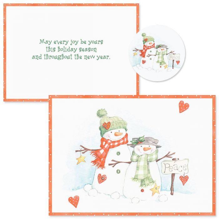 Peace Snowmen  Christmas Cards -  Nonpersonalized
