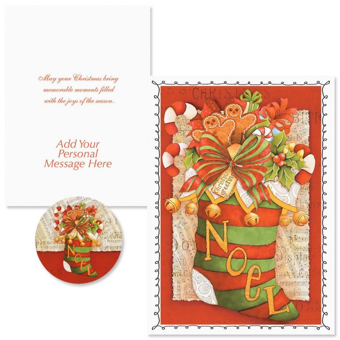 Christmas Stocking  Christmas Cards -  Personalized
