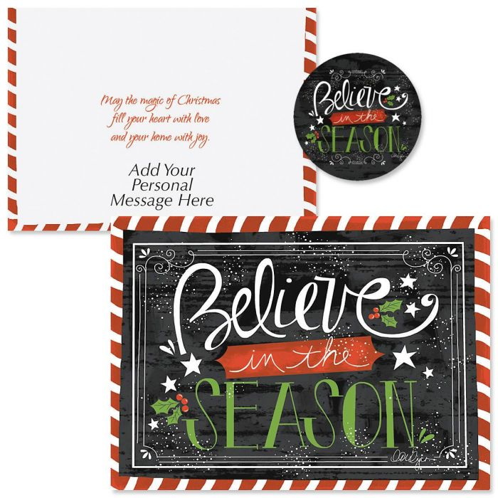 Believe In The Season Christmas Cards | Colorful Images