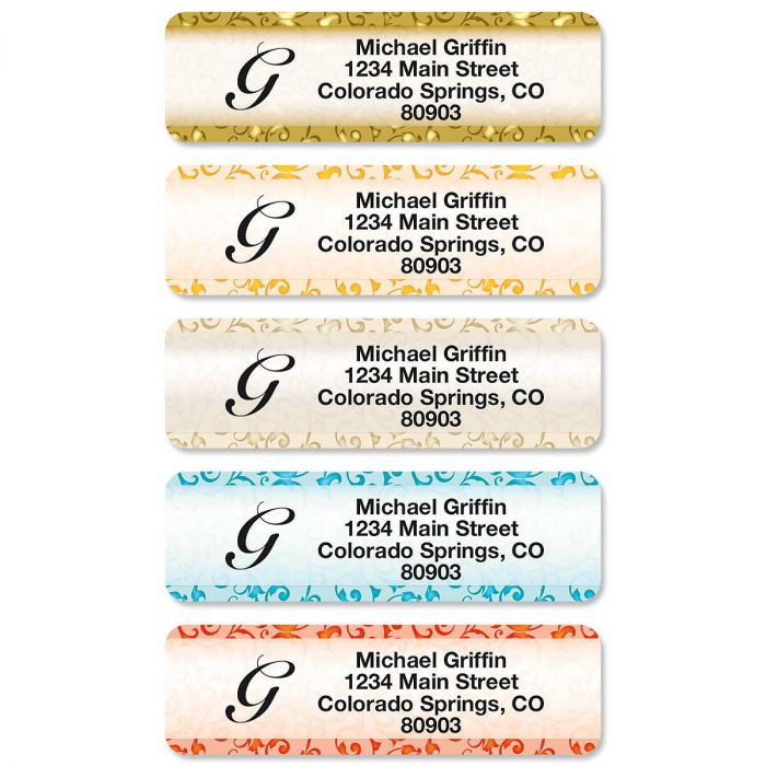 Stately Elegance Initial Rolled Return Address Labels (5 Designs)