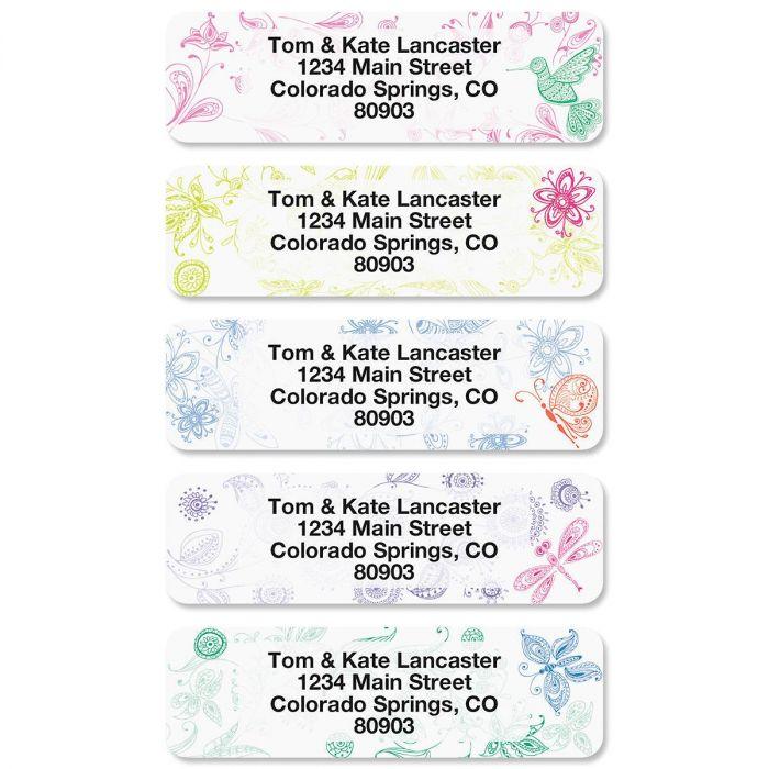 Flower Garden Rolled Return Address Labels  (5 Designs)