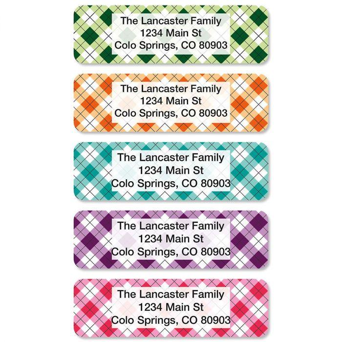 Argyle Rolled Return Address Labels (5 Designs)