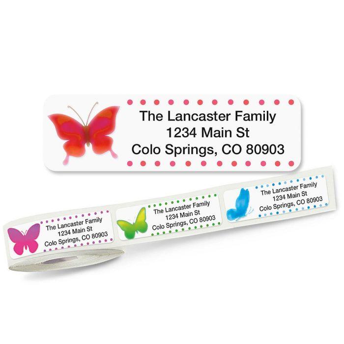 Watercolor Butterflies Rolled Return Address Labels  (5 Designs)
