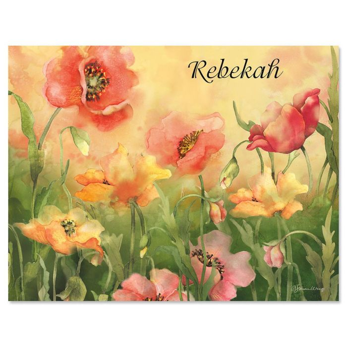 Poppies Custom Note Cards