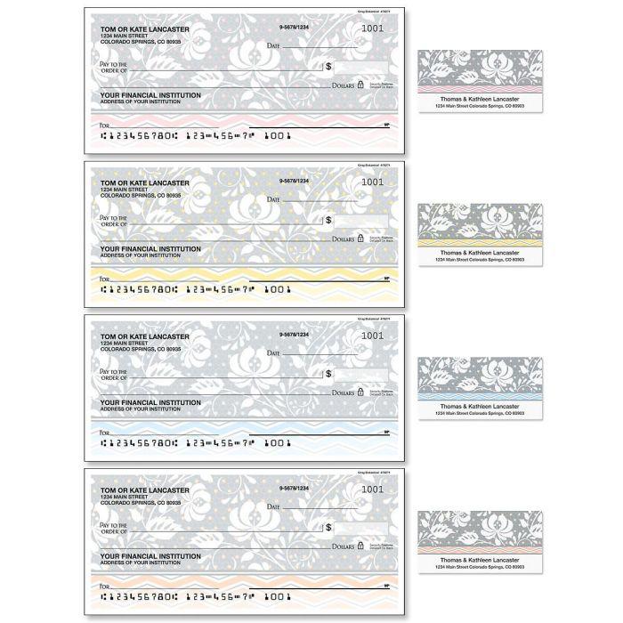 Gray Botanical Duplicate Checks with Matching Address Labels