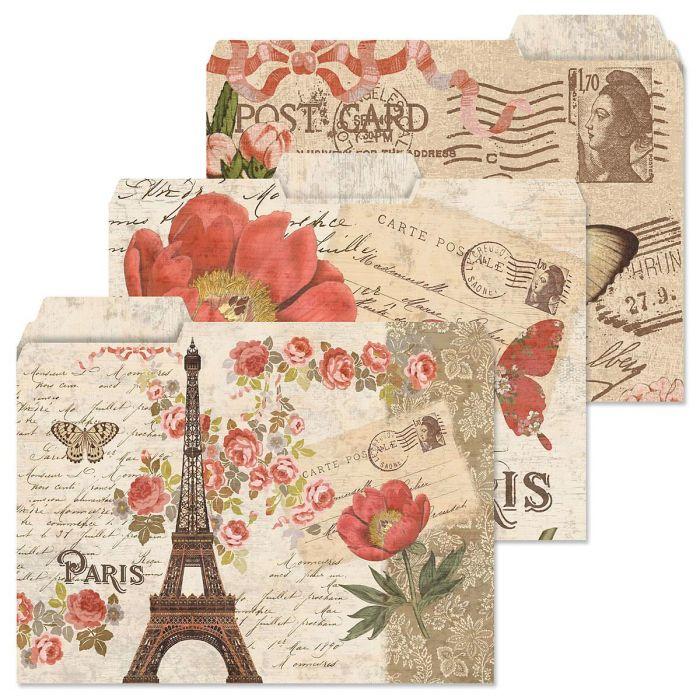 Parisian Postcard File Folders  (3 Designs)