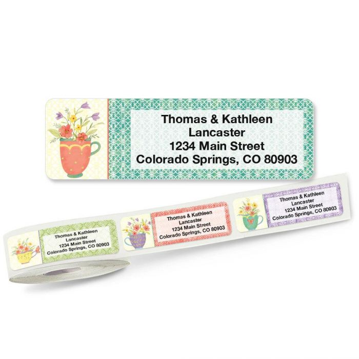 Teacups Rolled Return Address Labels (5 Designs)
