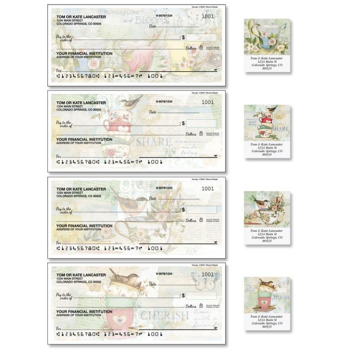 Teacups Single Checks with Matching Address Labels