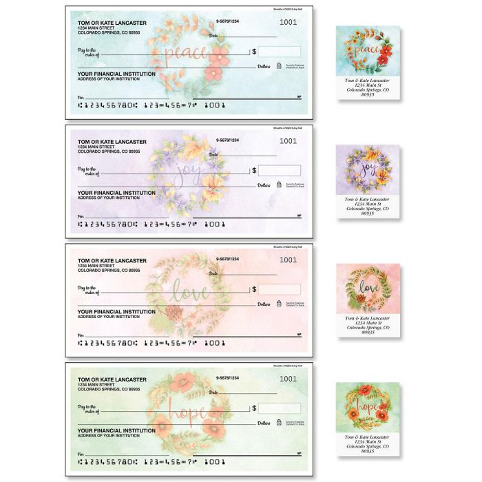 Wreaths Single Checks with Matching Address Labels