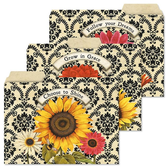 French Sunflower File Folders