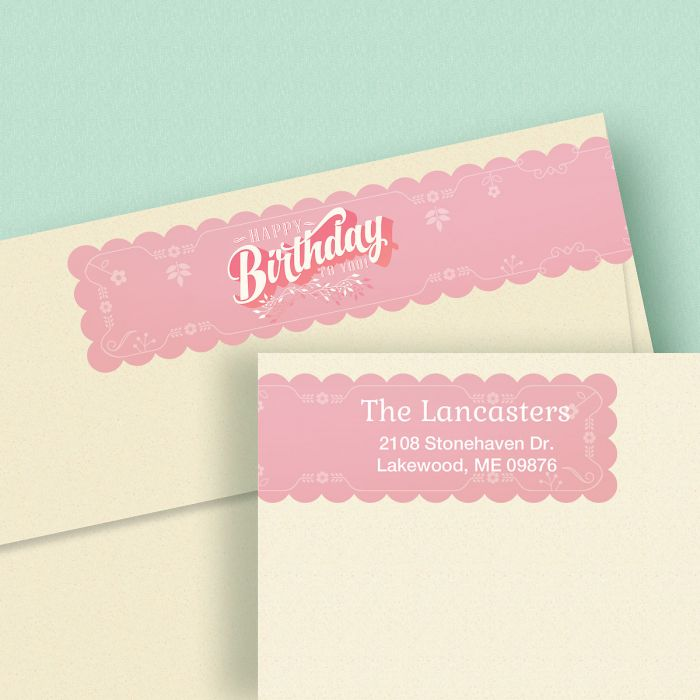 Happy Birthday Connect Wrap Diecut Address Labels (4 Colors)