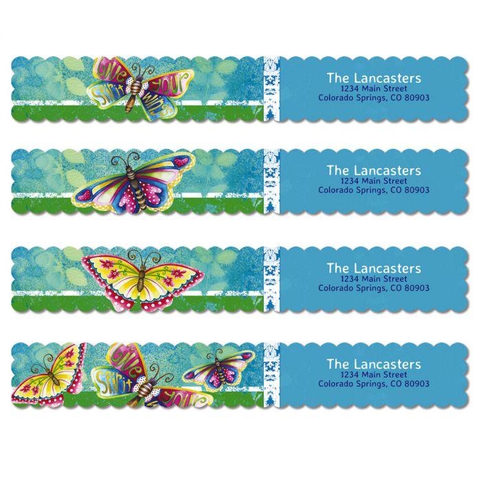 Spirit Wings Connect Wrap Diecut Address Labels (4 Designs)