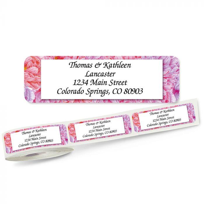 Pink Peony Rolled Return Address Labels