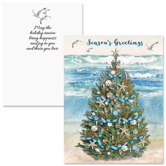 Beach Christmas Tree Note Card Size Christmas Cards