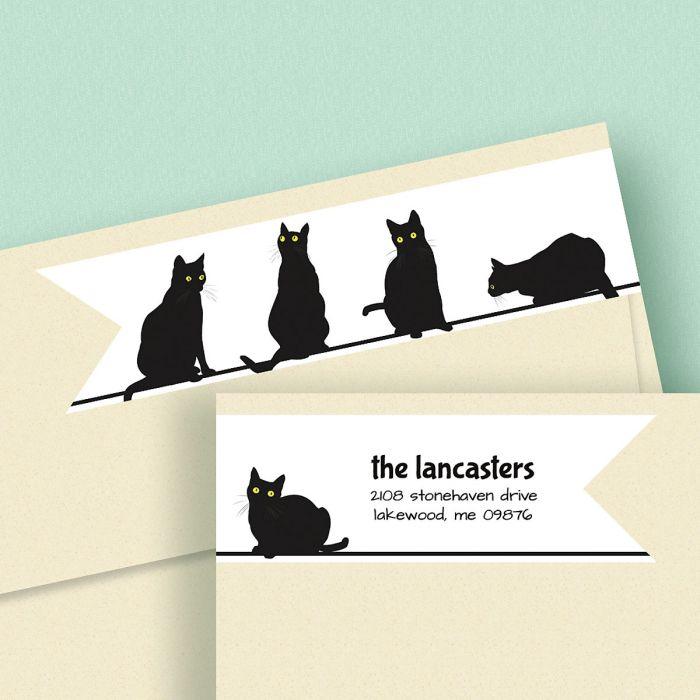 Black Cats Connect Wrap Diecut Address Labels