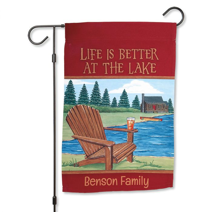 Personalized Lake Garden Flag and Metal Flag Stand