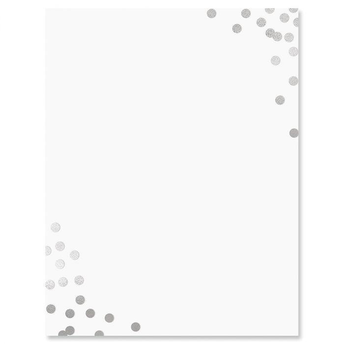 Silver Confetti Letter Papers