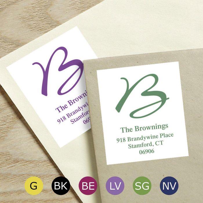 Grand Initial Select Return Address Labels  (6 Colors)