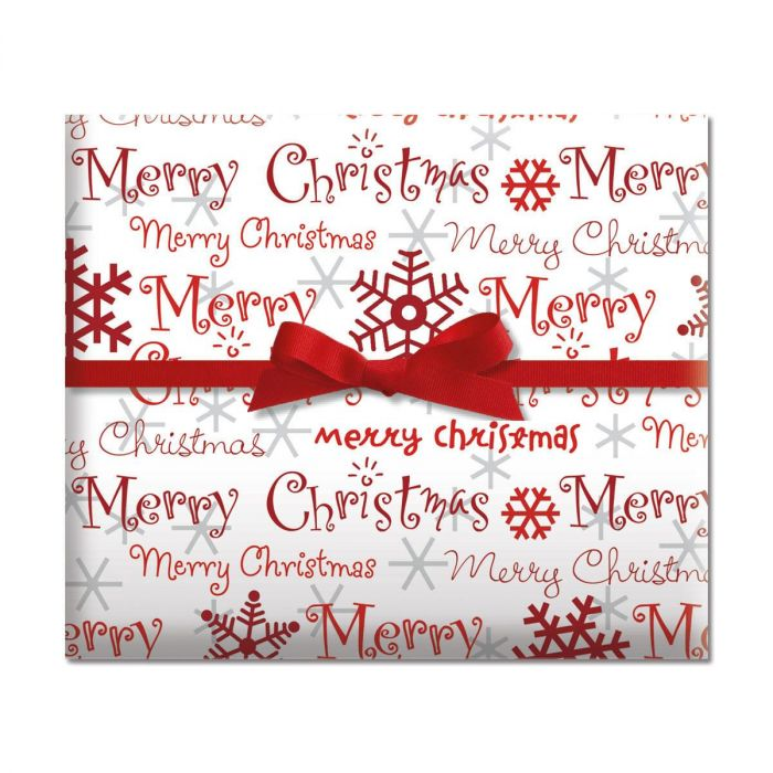 Merry Christmas Script Holiday Jumbo Rolled Gift Wrap