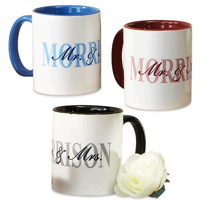 Mr. and Mrs. Personalized Novelty Mugs