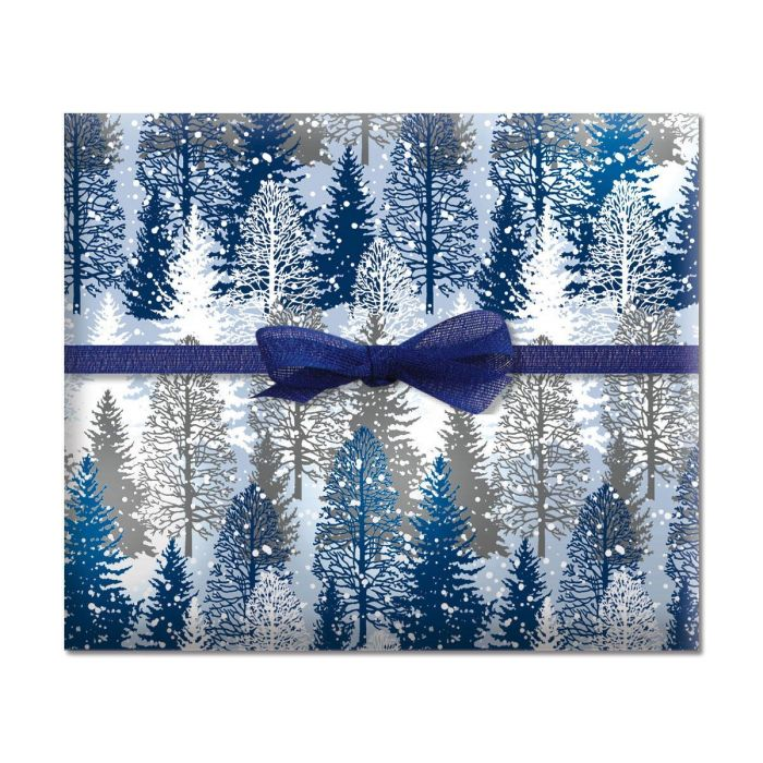 Snowy Trees Holiday Jumbo Rolled Gift Wrap