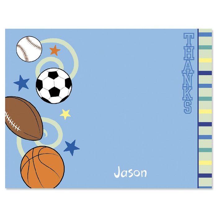 Sports Balls Custom Thank You Cards