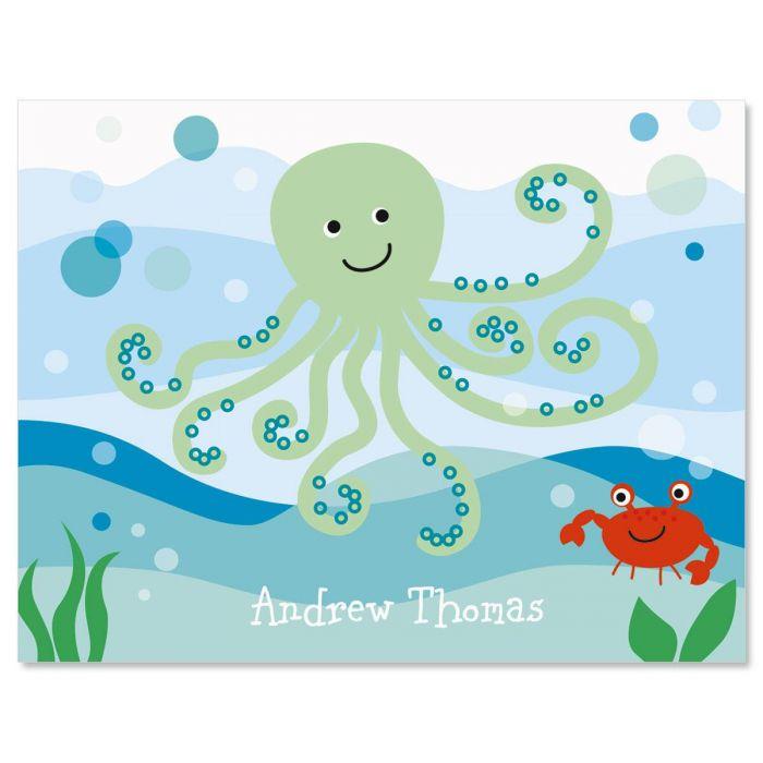 Octopus Custom Note Cards