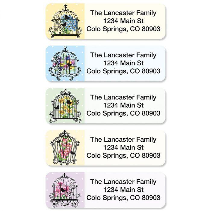 Bird Cages Rolled Return Address Labels  (5 designs)