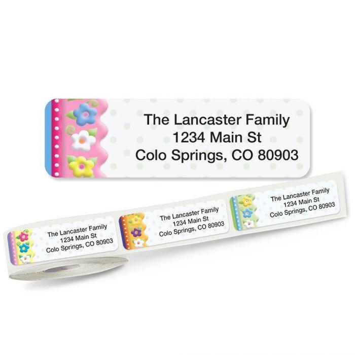 Frosting Flowers Rolled Return Address Labels  (5 Designs)