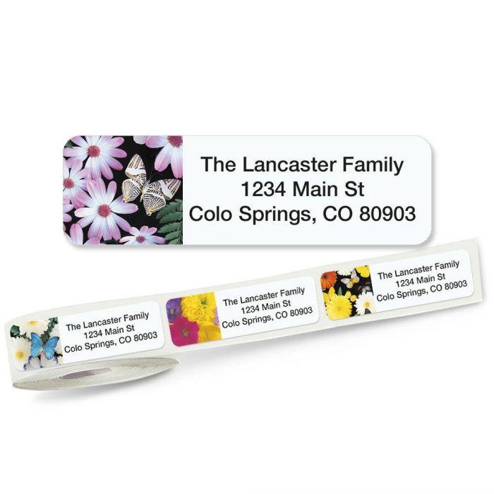 Flower Collage Rolled Return Address Labels  (5 Designs)
