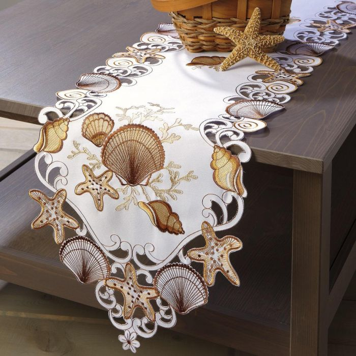 Seashell Design Cutwork Table Runner