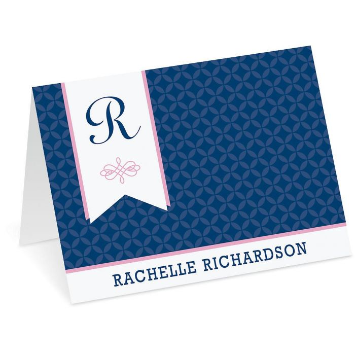 Ribbon Initial Custom Note Cards