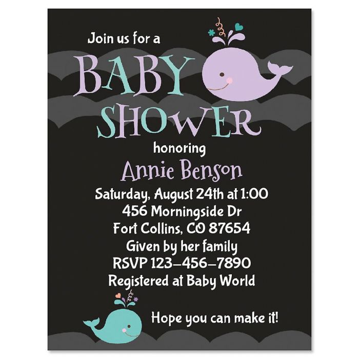Whale Waves Personalized Invitation