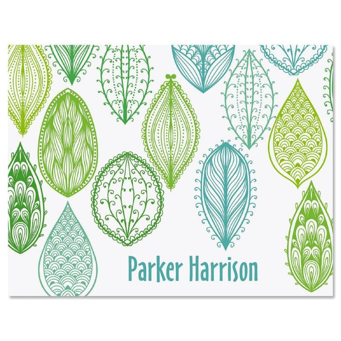 Abstract Leaves Custom Note Cards