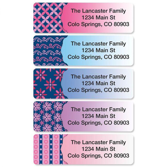 Navy Pop Rolled Return Address Labels  (5 Designs)