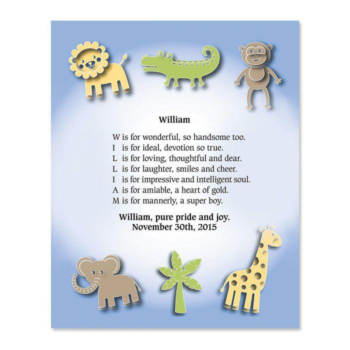 Zoo Animals Name Poem Print