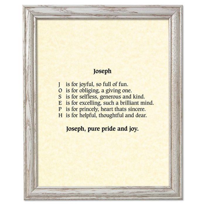 Parchment Cream Framed Name Poem Print
