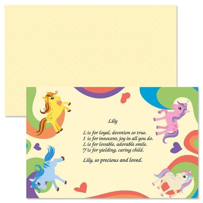 Ponies Name Poem Placemat