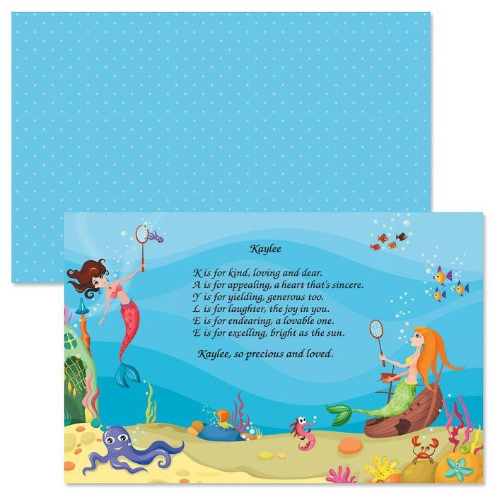 Mermaid Name Poem Placemat