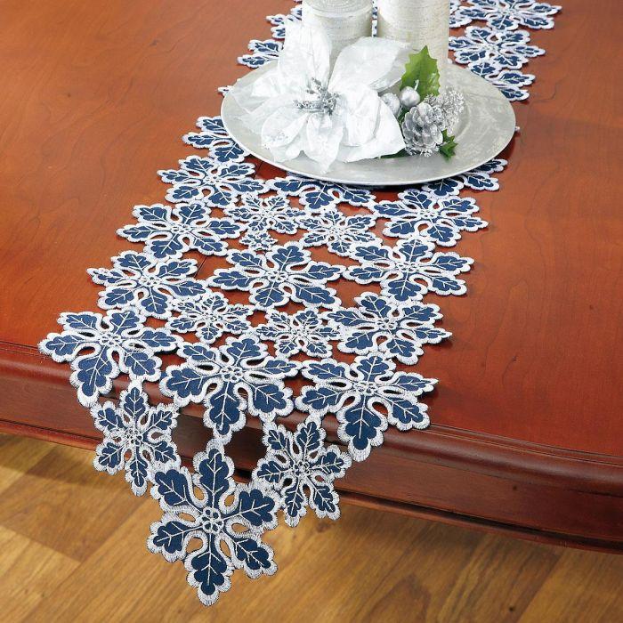 Blue & Silver Snowflakes Cutwork Table Runner