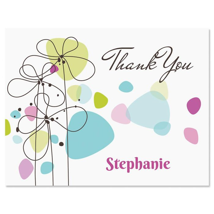 Sketched Flowers Custom Thank You Cards