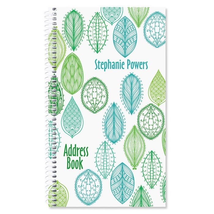 Abstract Leaves Personalized Lifetime Address Book